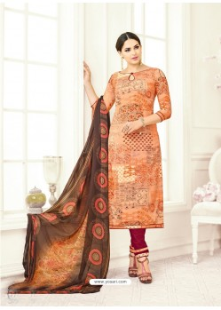 Peach Poly Cotton Printed Suit