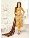 Yellow Poly Cotton Printed Suit