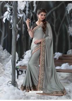 Grey Embroidered Work Designer Saree