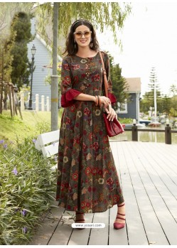 Multi Colour Rayon Printed Kurti