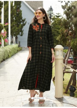 Superb Black Rayon Printed Kurti