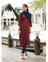 Beautiful Maroon Rayon Printed Kurti