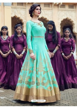 Amazing Jade Green Print Work Gown