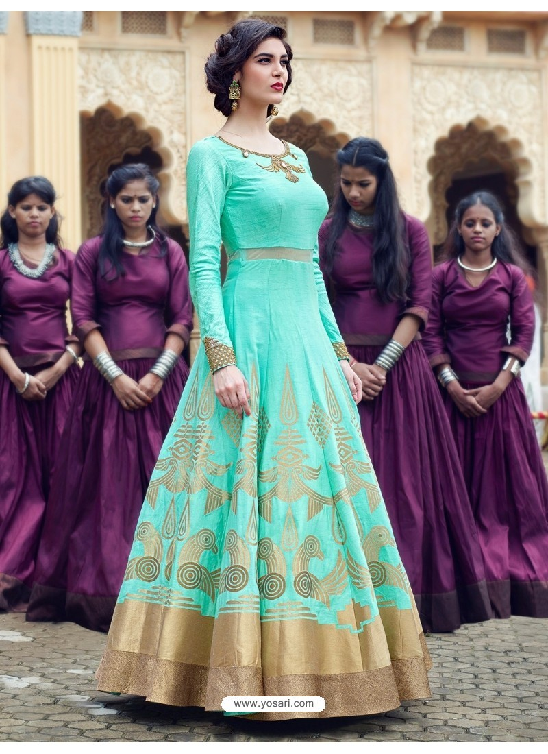 Amazing Jade Green Print Work Gown