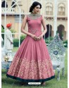 Lovely Light Pink Print Work Gown