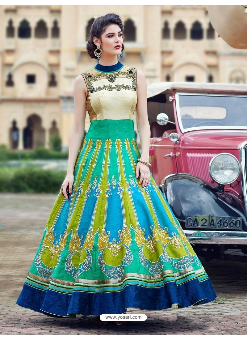 Buy Latest Multi Colour Print Work Gown | Gowns