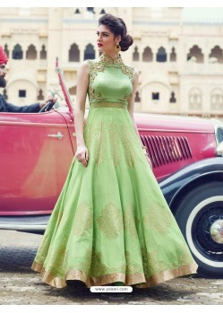 Dazzling Sea Green Print Work Gown