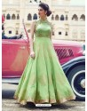 Dazzling Sea Green Print Work Gown