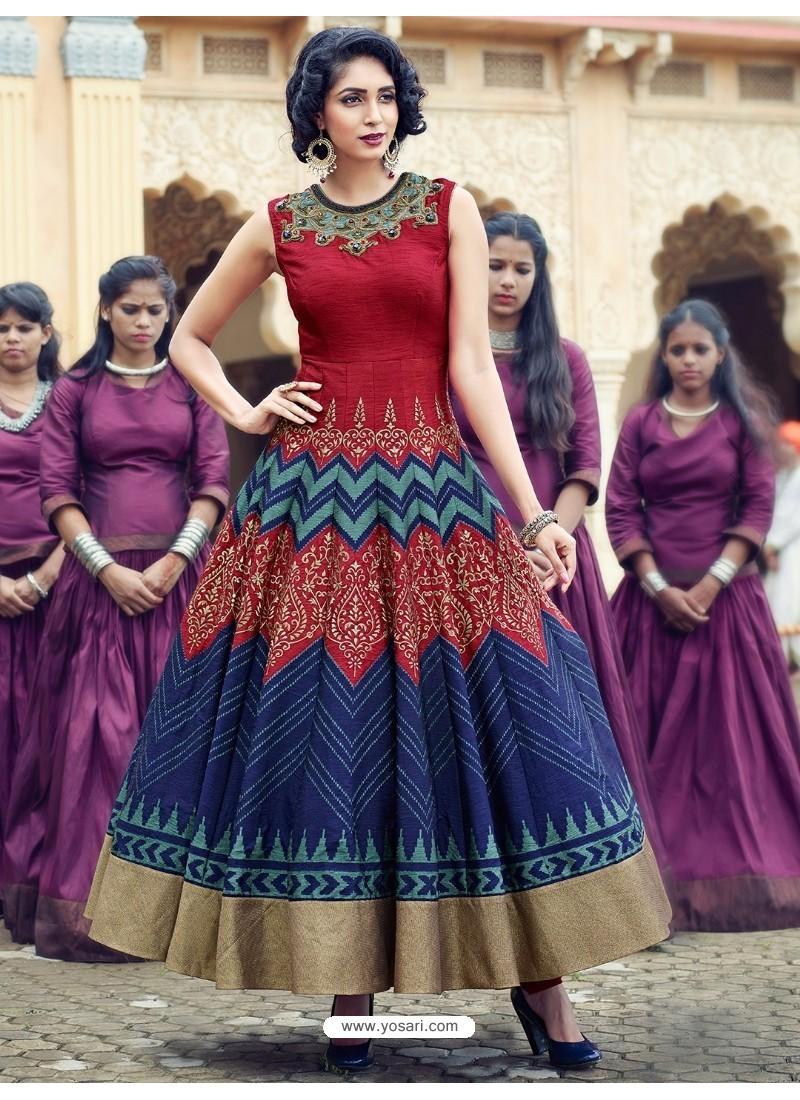 Buy Feminine Wine Print Work Gown | Gowns