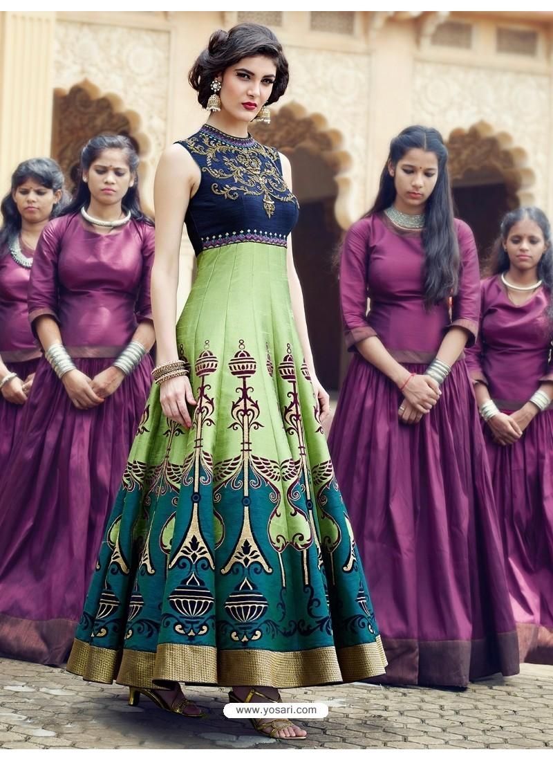 Magical Multi Colour Print Work Gown