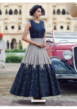 Eyeful Navy Blue Print Work Gown