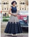 Eyeful Navy Blue Print Work Gown