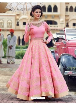 Lustrous Light Pink Print Work Gown