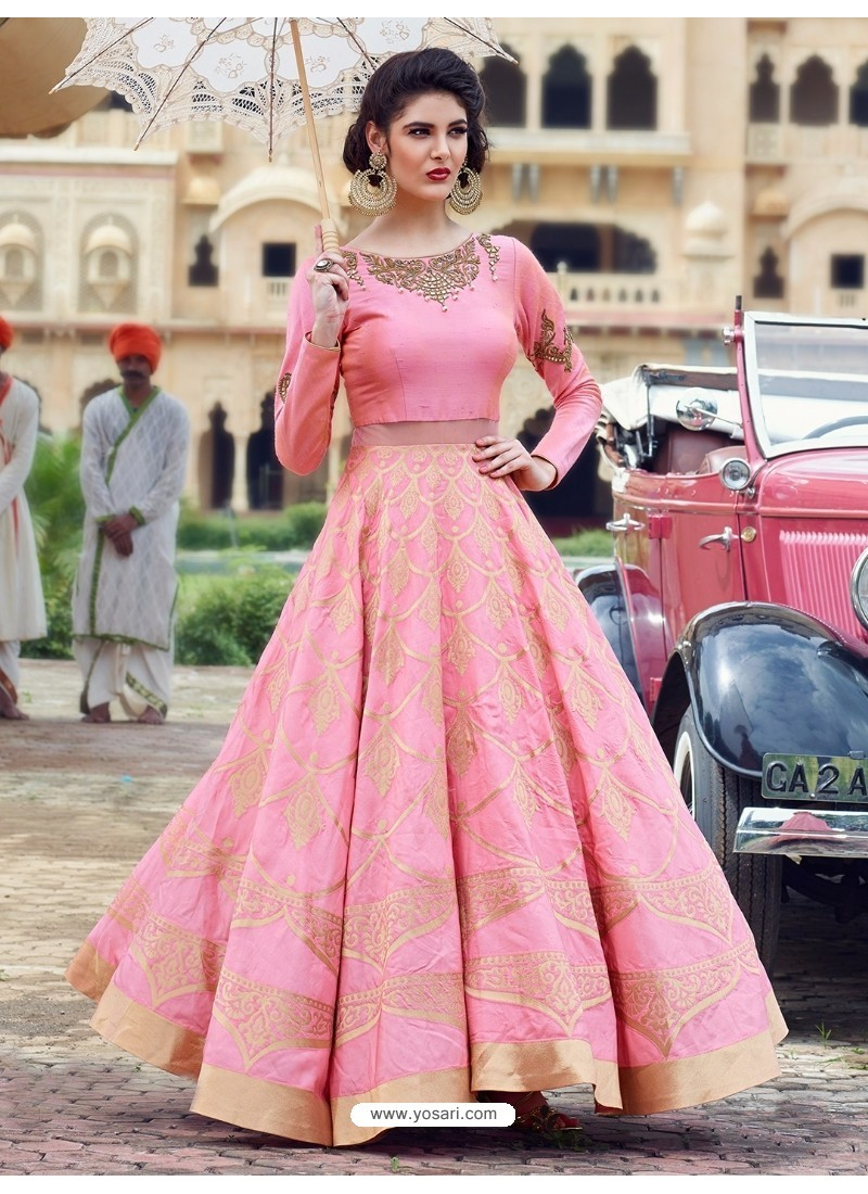 Buy Lustrous Light Pink Print Work Gown | Gowns