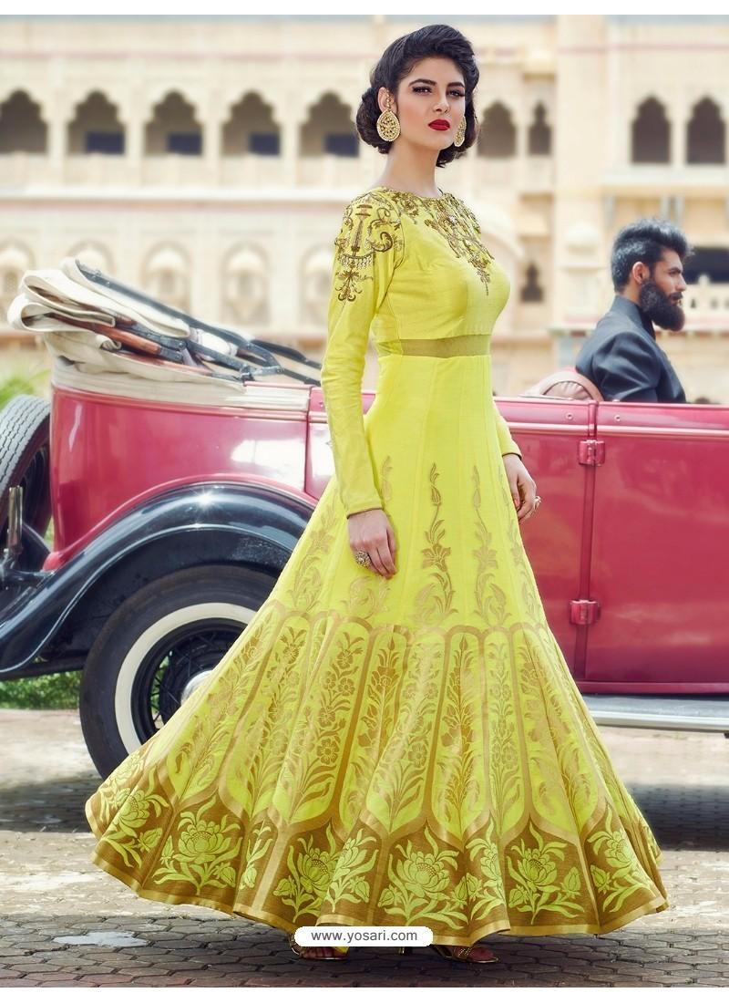 Flawless Lemon Print Work Gown