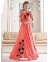 Marvelous Peach Bridal Silk Gown