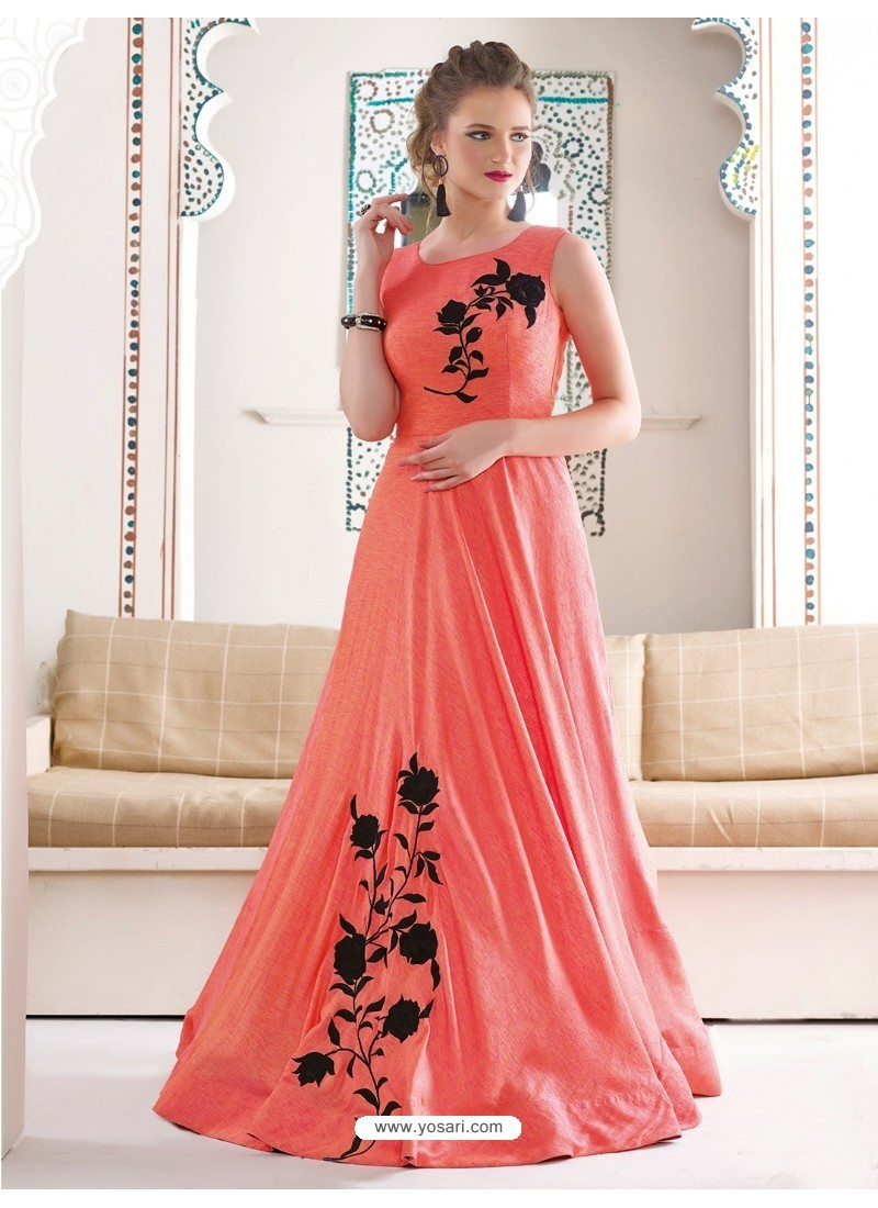 Buy Marvelous Peach Bridal Silk Gown | Gowns