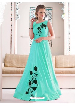 Gorgeous Sky Green Bridal Silk Gown