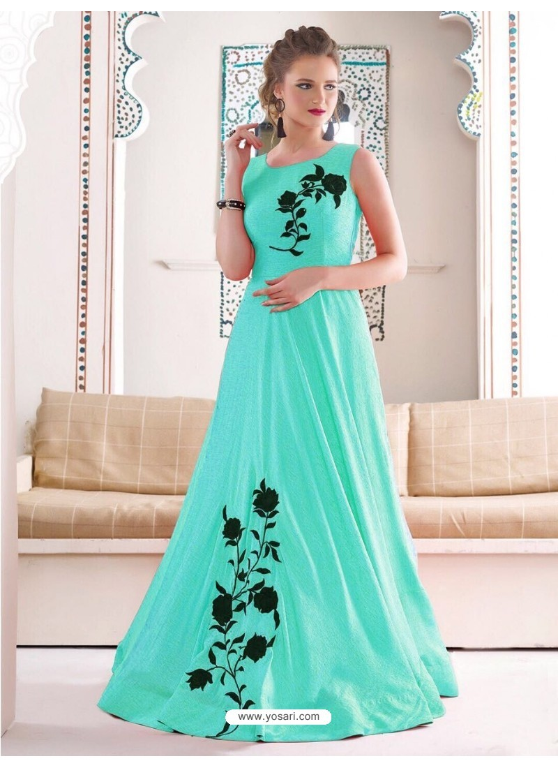 Gorgeous Sky Green Bridal Silk Gown