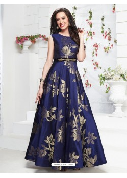 Incredible Dark Blue Taffeta Silk Gown