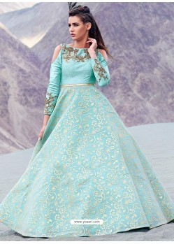Mesmeric Sky Blue Jacquard Gown