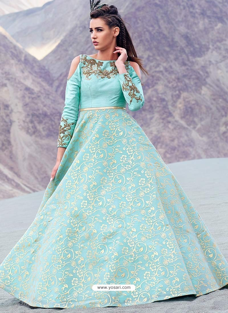 Buy Mesmeric Sky Blue Jacquard Gown | Gowns