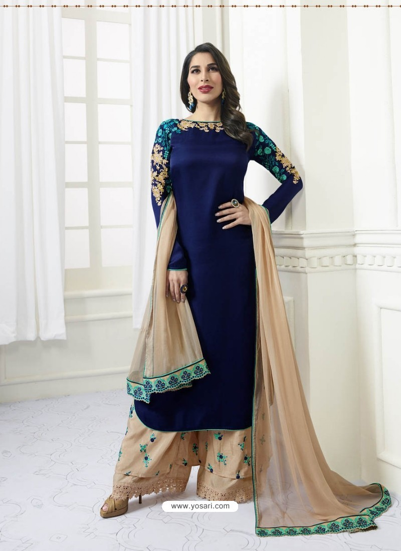 Navy Blue Model Satin Embroidered Suit