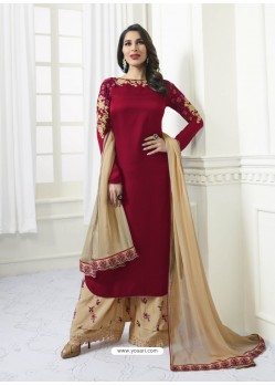 Wine Model Satin Embroidered Suit