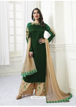 Dark Green Model Satin Embroidered Suit