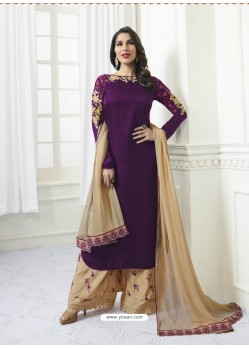 Purple Model Satin Embroidered Suit