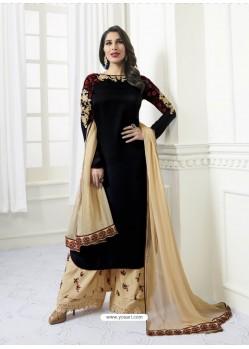Black Model Satin Embroidered Suit
