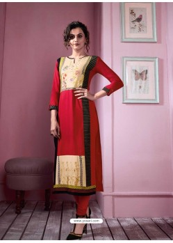 Splendid Red Rayon Embroidered Kurti