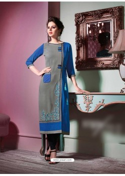 Amazing Blue Rayon Embroidered Kurti