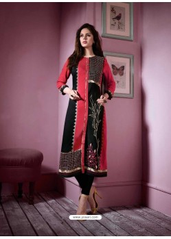Glorious Black Rayon Embroidered Kurti