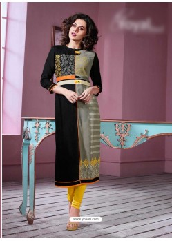 Lovely Black Rayon Embroidered Kurti