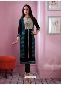 Latest Black Rayon Embroidered Kurti
