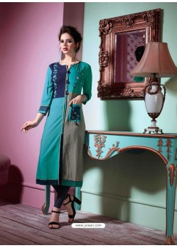 Dazzling Turquoise Rayon Embroidered Kurti