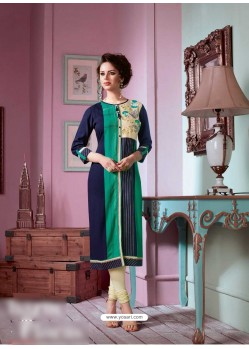 Feminine Navy Blue Rayon Embroidered Kurti