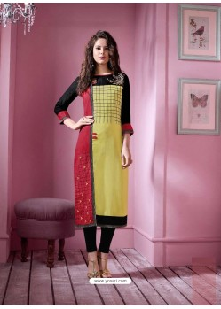 Magical Lemon Rayon Embroidered Kurti