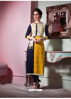 Eyeful Mustard Rayon Embroidered Kurti