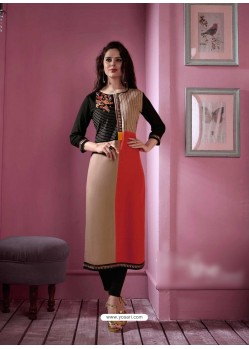 Decent Multi Colour Rayon Embroidered Kurti