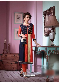 Lustrous Multi Colour Rayon Embroidered Kurti