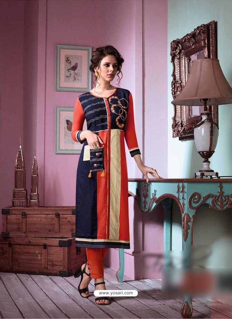 Lustrous Multi Colour Rayon Embroidered Kurti