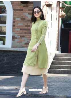 Gorgeous Green Georgette Embroidered Kurti