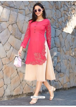 Groovy Dark Peach Georgette Embroidered Kurti
