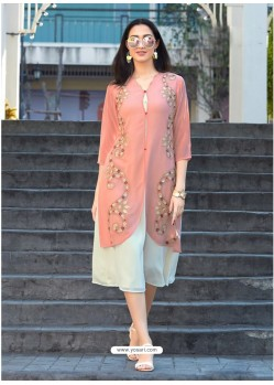 Mesmeric Peach Georgette Embroidered Kurti