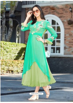 Magnificent Green Georgette Embroidered Kurti