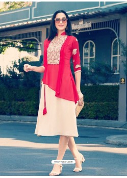 Modern Red Georgette Embroidered Kurti