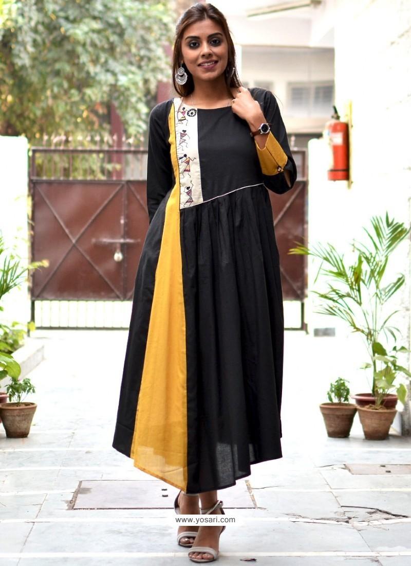 Deserving Black Rayon Embroidered Kurti