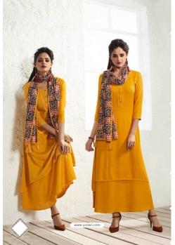 Beautiful Mustard Rayon Printed Kurti